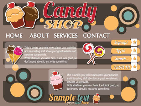 Website template design elements, retro vintage, candy shop Vector