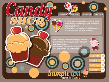 Website template design elements, vintage retro, vector Vector