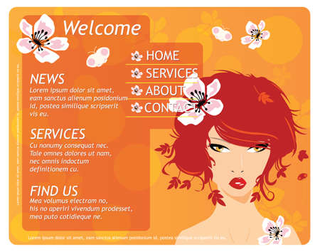 Beauty website template elements with beautiful girl and flowers, orange, vector Vector