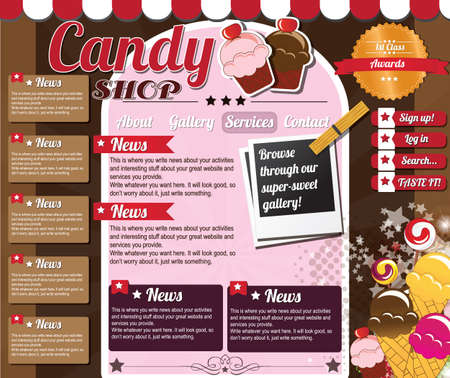 Website template elements, vintage style, candy shop Illustration