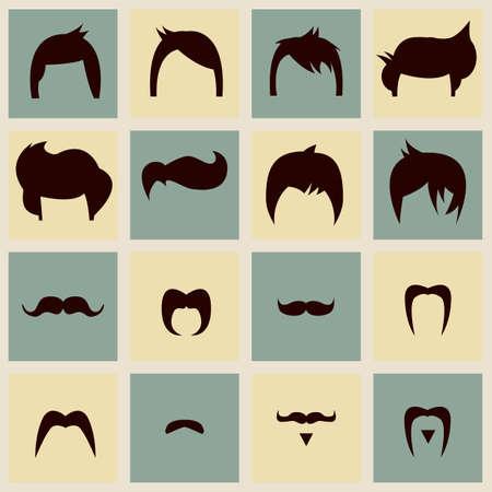 mode retro: Het verzamelen van hipster vintage kapsels en snor, vector illustratie Stock Illustratie