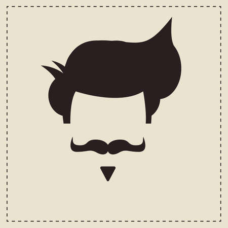 Hipster vintage hair style and mustache, vector illustration Vector