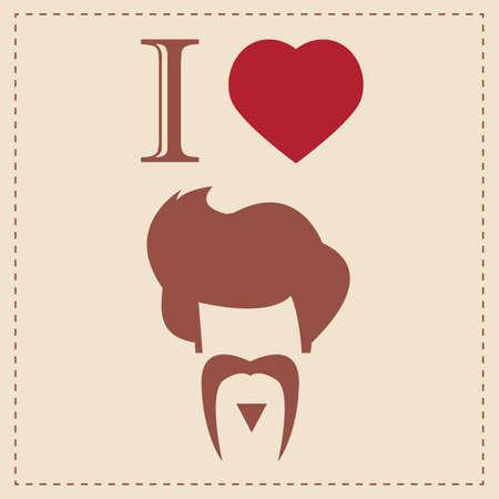 Ik hou van vintage hipster kapsel en snor, vector illustratie