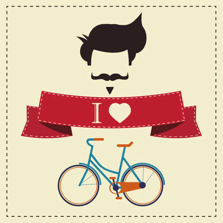 fake mustaches: I love hipster vintage hair style, mustache and bicycle, vector illustration  Illustration