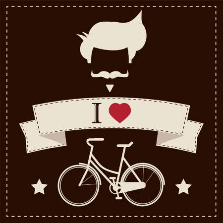 fake mustaches: I love hipster vintage hair style, mustache and bicycle Illustration