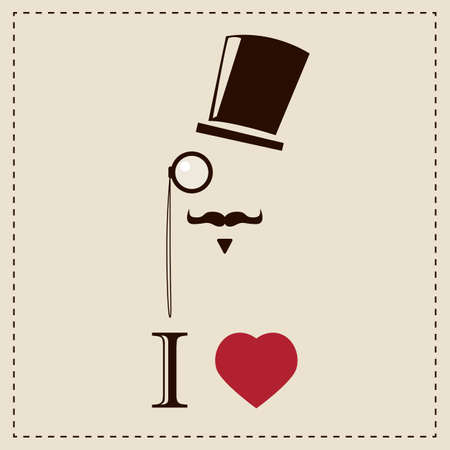 Gentleman hipster card with monocles and top hat, vector Vector