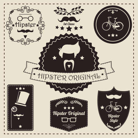Collection of vintage hipster label icons, vector illustration Vector