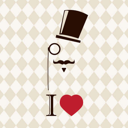 Vintage card with top hat, monocle and mustache, vector illustration Vector