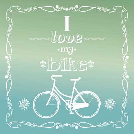 bike vector: Ilustraci�n de la vendimia de la bicicleta, amo a mi bicicleta, vector
