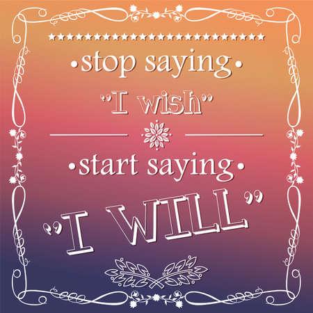 Quote, inspiration message, typographical background, vector illustration Ilustração