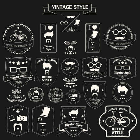 Collection of vintage hipster labels, badges and stamps, monochrome, vector illustration Vector