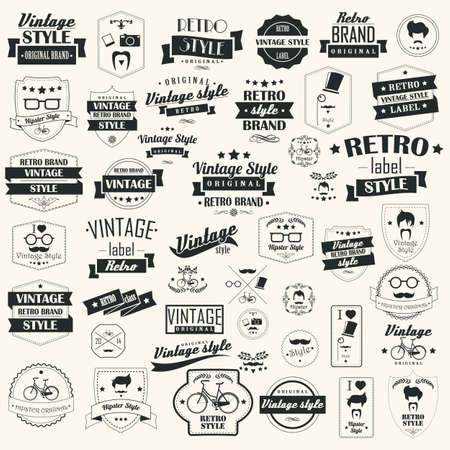ビンテージ レトロなラベルの設定、切手、リボン、マーク、カリグラフィ デザイン要素、誤植、ヒップスター、ベクトル イラスト