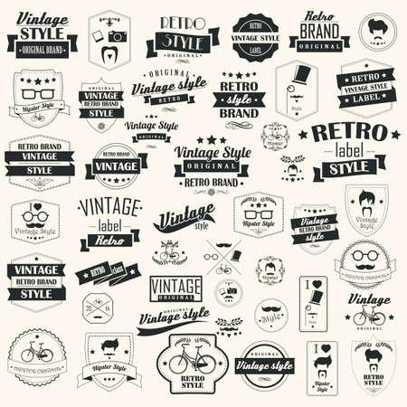 Ensemble de rétro cru étiquettes, des timbres, des rubans, des marques et des éléments de conception calligraphique, typographique, les éléments de hippie, illustration vectorielle