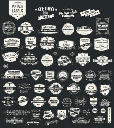 sello: Colección de etiquetas cosecha retro, insignias, sellos, cintas, marcas y elementos de diseño tipográfico, ilustración Vectores