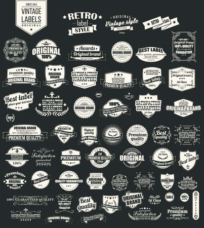Collection of vintage retro labels, badges, stamps, ribbons, marks and typographic design elements, illustration Illustration