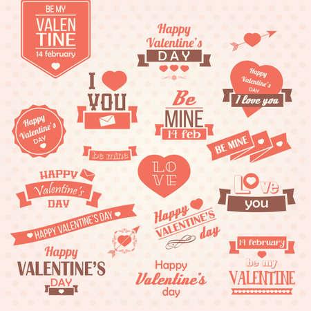발렌타인 데이 빈티지 레이블, 인쇄상의 디자인 요소, 리본, 아이콘, 우표, 배지, 그림의 컬렉션