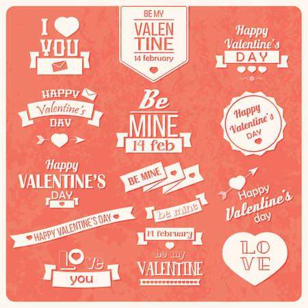 Het verzamelen van Valentijnsdag vintage labels, typografisch ontwerp elementen, linten, pictogrammen, postzegels, speldjes, illustratie Stock Illustratie