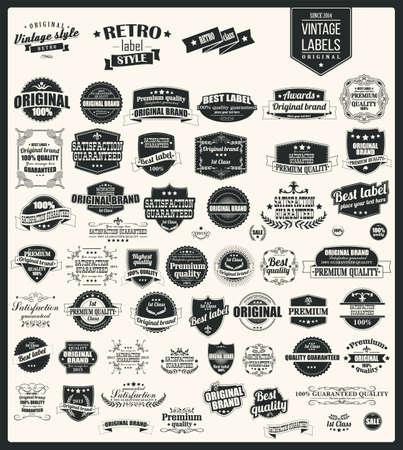 Het verzamelen van vintage retro labels, badges, zegels, linten, merken en typografisch ontwerp, vectorillustratie
