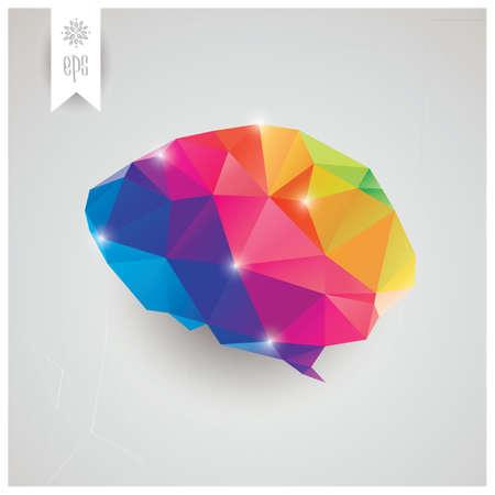 cerebro humano: Cerebro humano, abstracto y geom�trico, tri�ngulos, creatividad, ilustraci�n vectorial