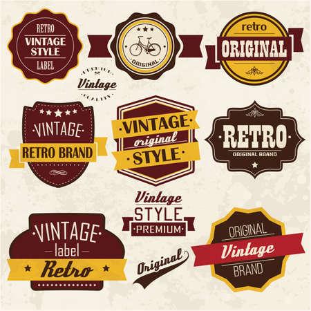 Het verzamelen van vintage retro labels, badges, postzegels, linten, merken en typografisch ontwerp elementen, vector illustratie Stock Illustratie