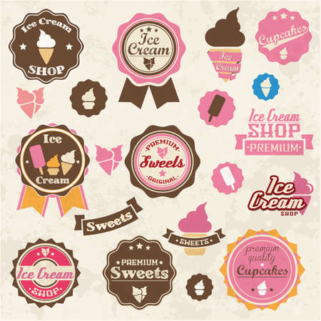 cone cake cone: Collection of vintage retro ice cream and cupcake labels, stickers, badges and ribbons, vector illustration