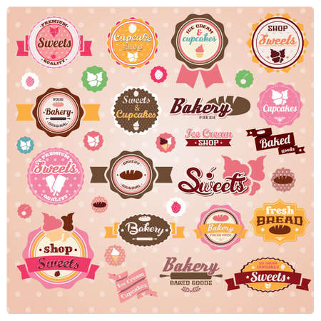 ビンテージ レトロなアイス クリームとベーカリー ラベル、ステッカー、バッジおよびリボン、ベクター グラフィックのコレクション