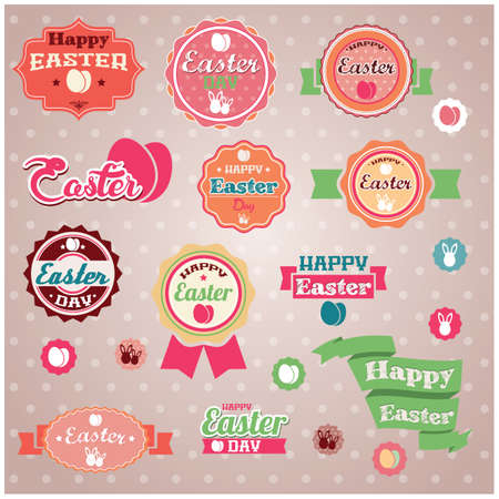 Collection of vintage retro Easter labels, stickers, badges and ribbons, vector illustration Vector