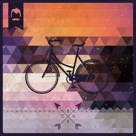 Vintage retro hipster label, typography, geometric design elements, bicycle, vector illustration Vector