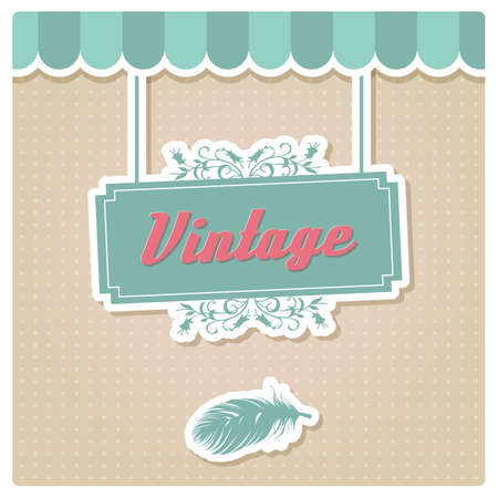 Vintage retro card design, greeting, menu, invitation, birthday , vector illustration Vector