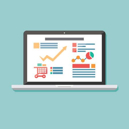 Vlakke icoon laptop, elektronisch apparaat, responsieve web design, infographic elementen, vector illustratie Stock Illustratie