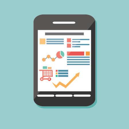 Flat icon mobile cellular phone, electronic device, responsive web design, infographic elements, vector illustration Stock Illustratie