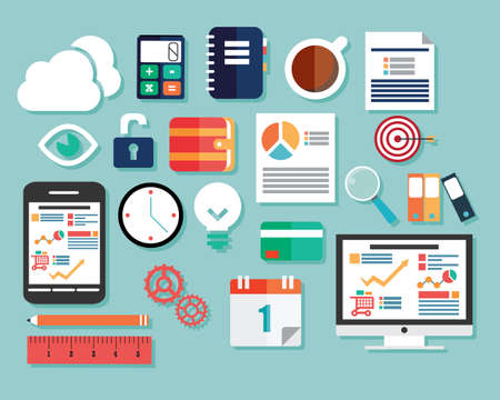 Collection of flat design icons, computer and mobile devices, cloud computing, communication, vector illustration