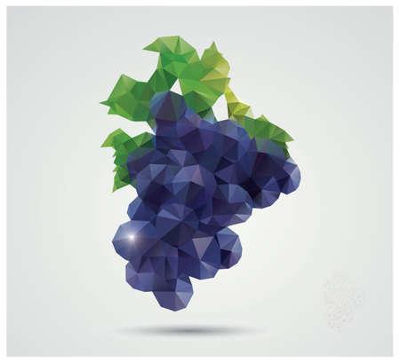 Geometrische veelhoekige fruit, driehoeken, druiven, vector illustratie