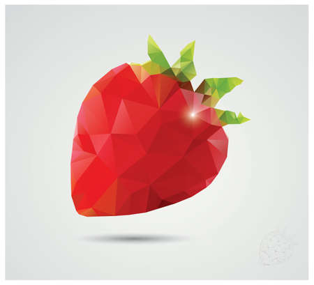 Geometric polygonal strawberry illustration Vector