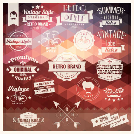 Collection of vintage retro hipster badges, labels and ribbons, pattern design background illustration Vector