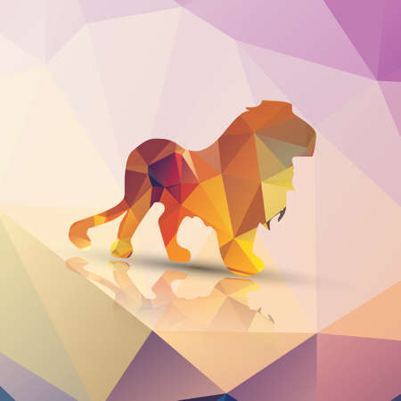 Geometric polygonal lion pattern design