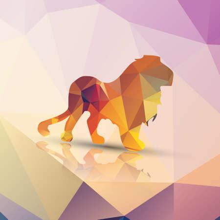 Geometric polygonal lion pattern design Vector