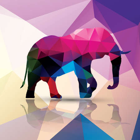 siluetas de elefantes: Diseño del modelo de elefante poligonal geométrica