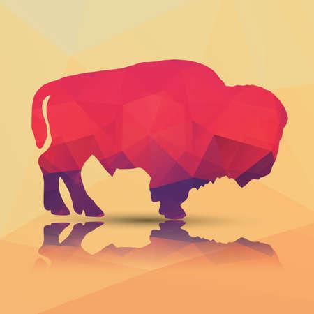 Geometric polygonal buffalo pattern design Illusztráció