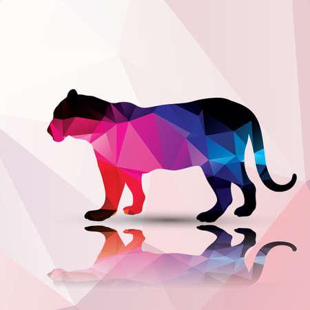 leopard cat: Geometric polygonal leopard pattern design