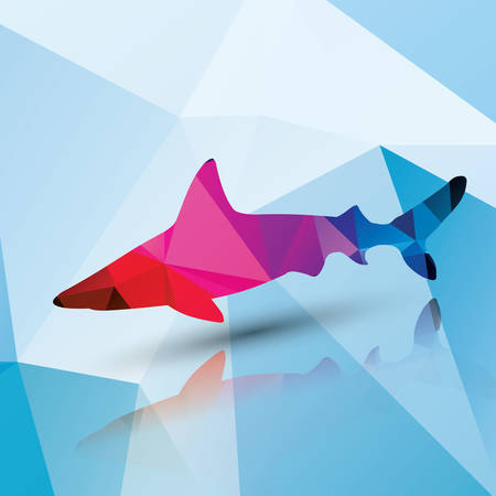 Geometric polygonal shark, pattern design, vector illustration Vector