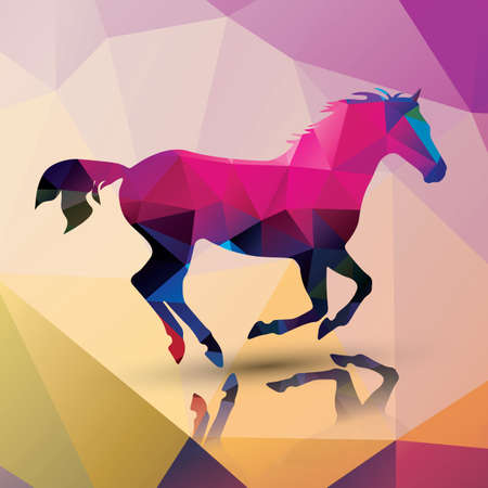 Geometric polygonal horse pattern design Vector