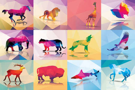 Collection of geometric polygon animals Vector