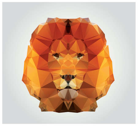 Geometric polygon lion head, triangle pattern Vectores