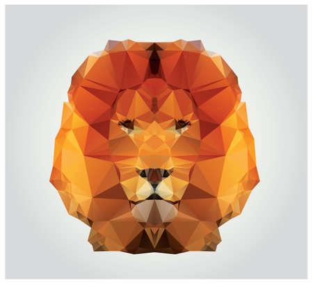 Geometrik poligon aslan kafası, üçgen desen Çizim