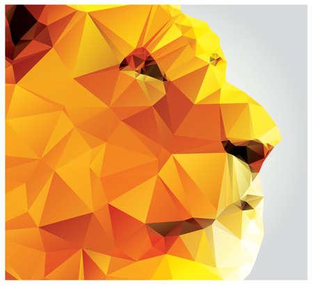 Geometric polygon lion head, profile, triangle pattern Vector
