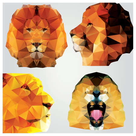 Collection of 4 geometric polygon lions, pattern design Illustration
