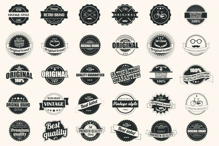 Collection of vintage retro labels, badges, stamps, ribbons, marks and typographic design elements Vectores