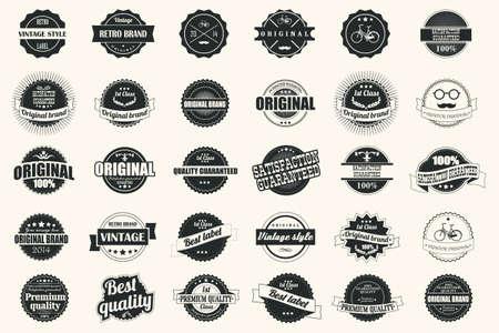 Verzameling van vintage retro labels, badges, postzegels, linten, merken en typografisch ontwerp elementen Stock Illustratie