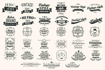 빈티지 레트로 라벨, 배지, 스탬프, 리본, 표시 및 인쇄 디자인 요소의 컬렉션 일러스트